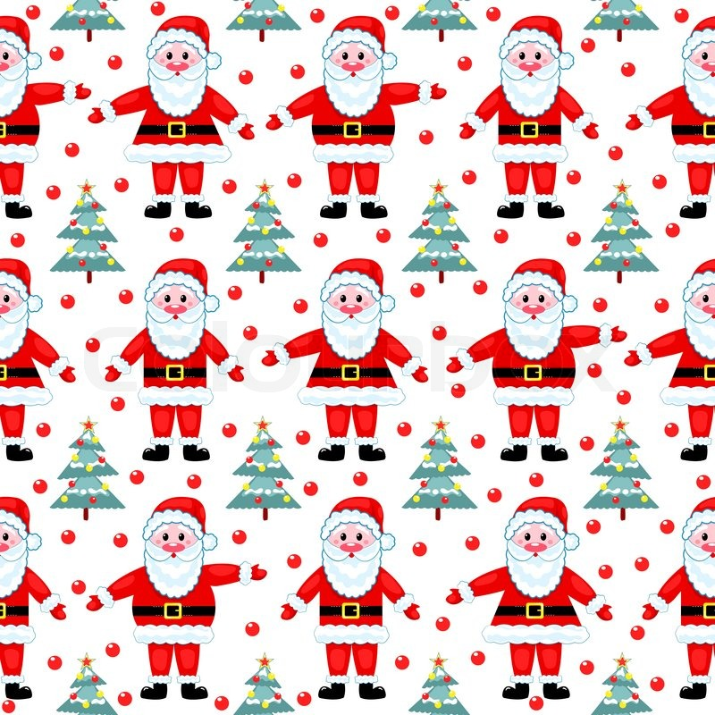 Santas Seamless Pattern On White Vector Christmas Background Stock Vector Colourbox Beauteous Christmas Pattern