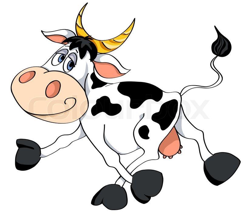 Cartoon White Cow Runs Vector Illustration Isolated On
