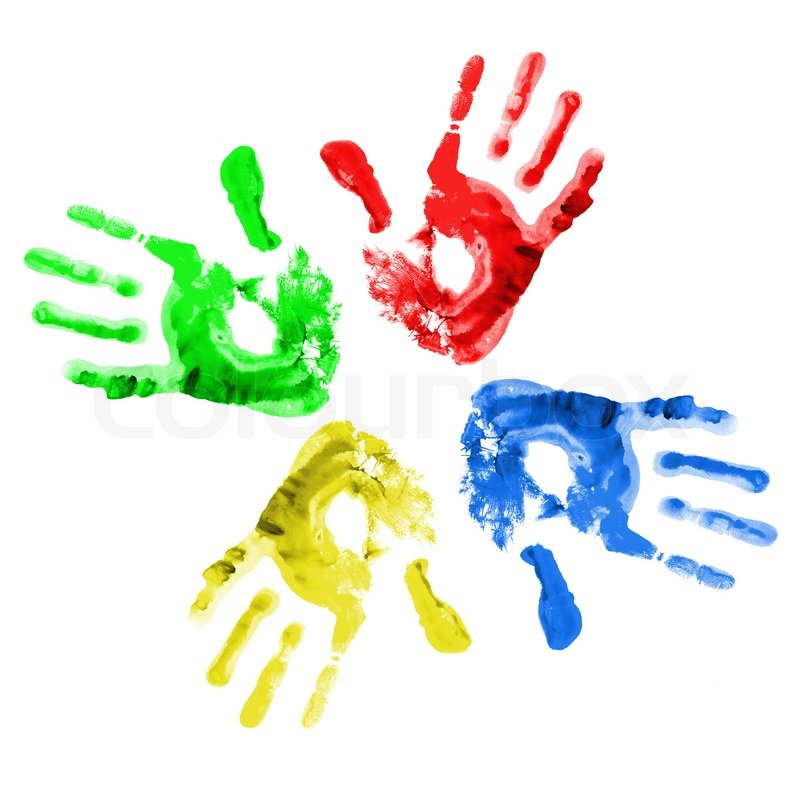 Stock image of 'Handprints in different colors on a white background'