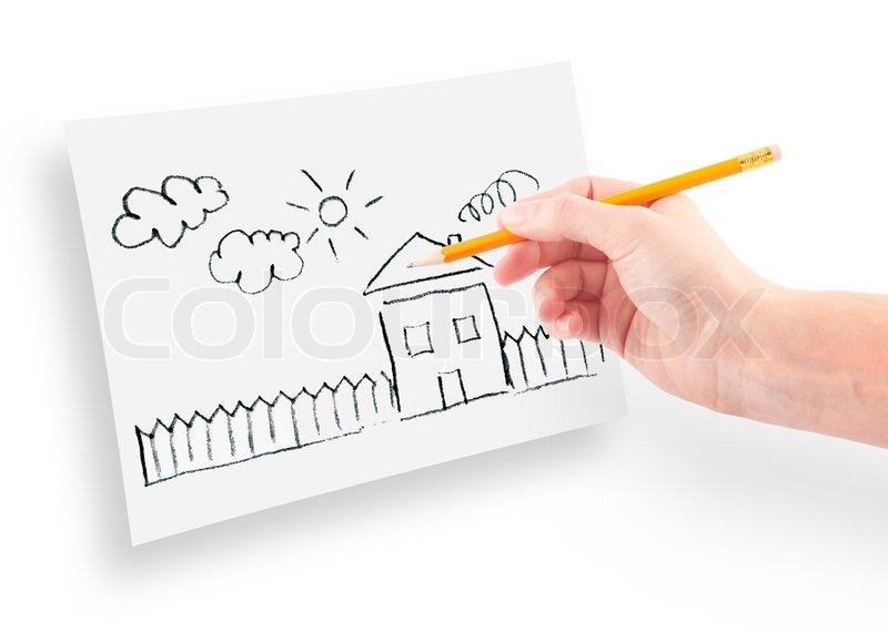 Dream House Drawing on Hand With The Pencil Drawing The Dream Home On A White Sheet Of Paper