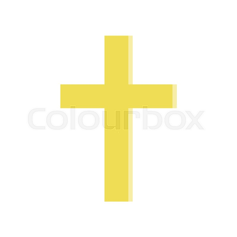 Golden Cross In Flat Style Symbol Of Roman Catholic Church Simple