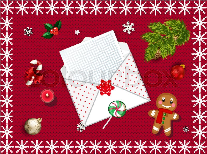 Christmas knitted background with fir tree and xmas decoration top christmas knitted background with fir tree and xmas decoration top view with copy space vector illustration template border with letter to santa spiritdancerdesigns Images