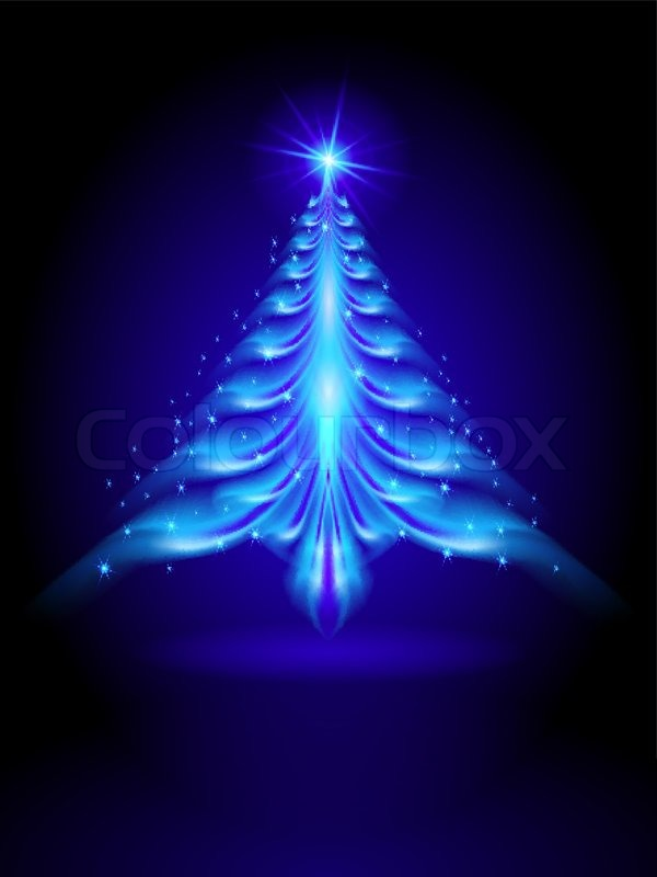 abstract blue christmas tree on black background illustration designer stock vector colourbox - Blue Christmas Trees