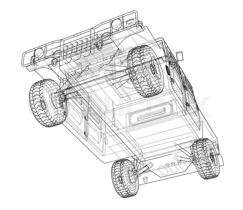 Combat Car Vector Rendering Of 3d