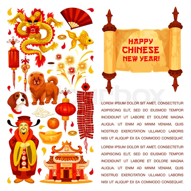 Happy Chinese New Year Hieroglyph Greeting On Paper Scroll And