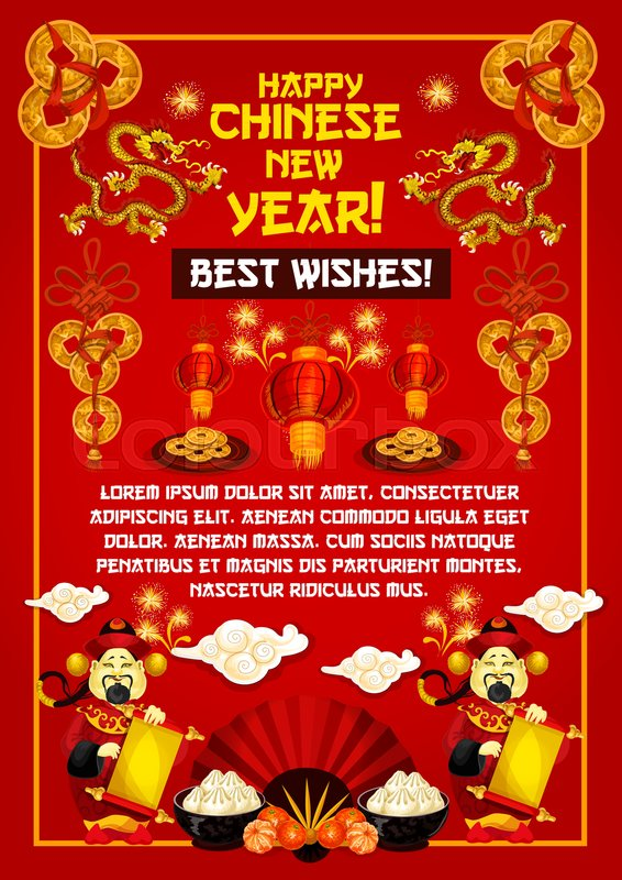 Happy chinese new year greeting card of golden decorations and happy chinese new year greeting card of golden decorations and traditional chinese ornaments on red background vector dragon red fan or paper lanterns and m4hsunfo