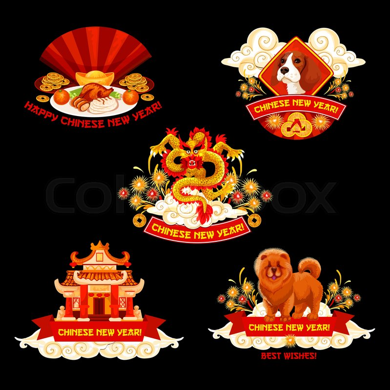 chinese new year label for oriental spring festival design asian dragon zodiac dog festive food and pagoda icon with gold ingot lucky coin and firework
