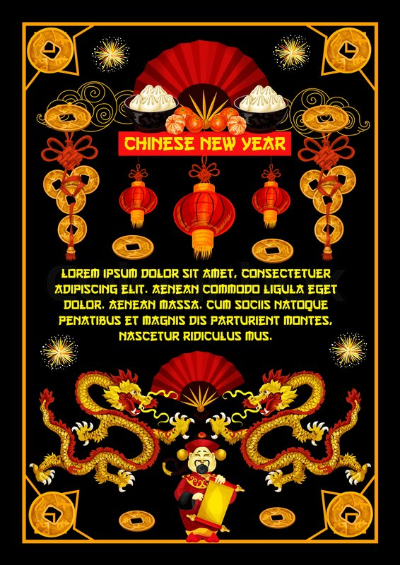 Happy chinese new year greeting card of hieroglyph wishes and happy chinese new year greeting card of hieroglyph wishes and traditional china symbols of dragon red fan or paper lanterns and fireworks m4hsunfo