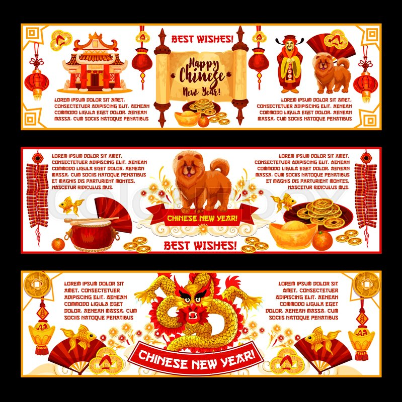 Happy chinese new year greeting banners of traditional china lunar happy chinese new year greeting banners of traditional china lunar new year holiday symbols vector chinese drums fan and red paper lanterns or lucky knot m4hsunfo