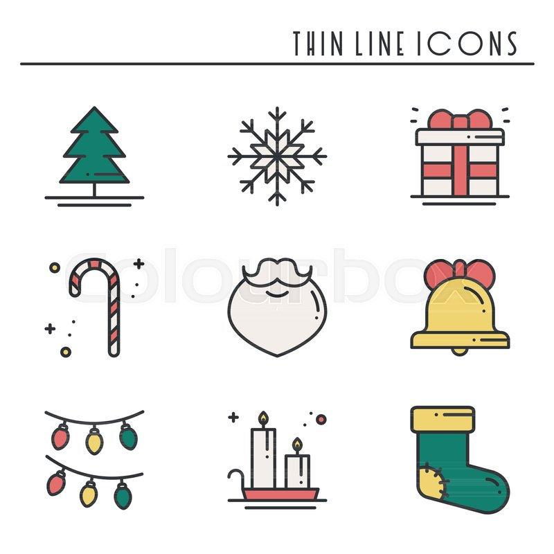 Christmas Holiday Thin Line Icons Set New Year Celebration Outline