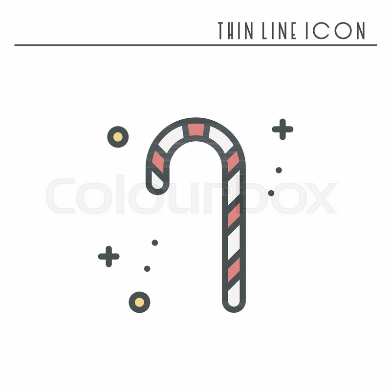 Christmas Candy Cane Thin Line Icon New Year Celebration Outline