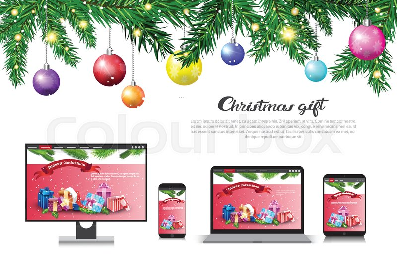 Holiday Sale On Modern Devices Christmas Gift Concept New year ...
