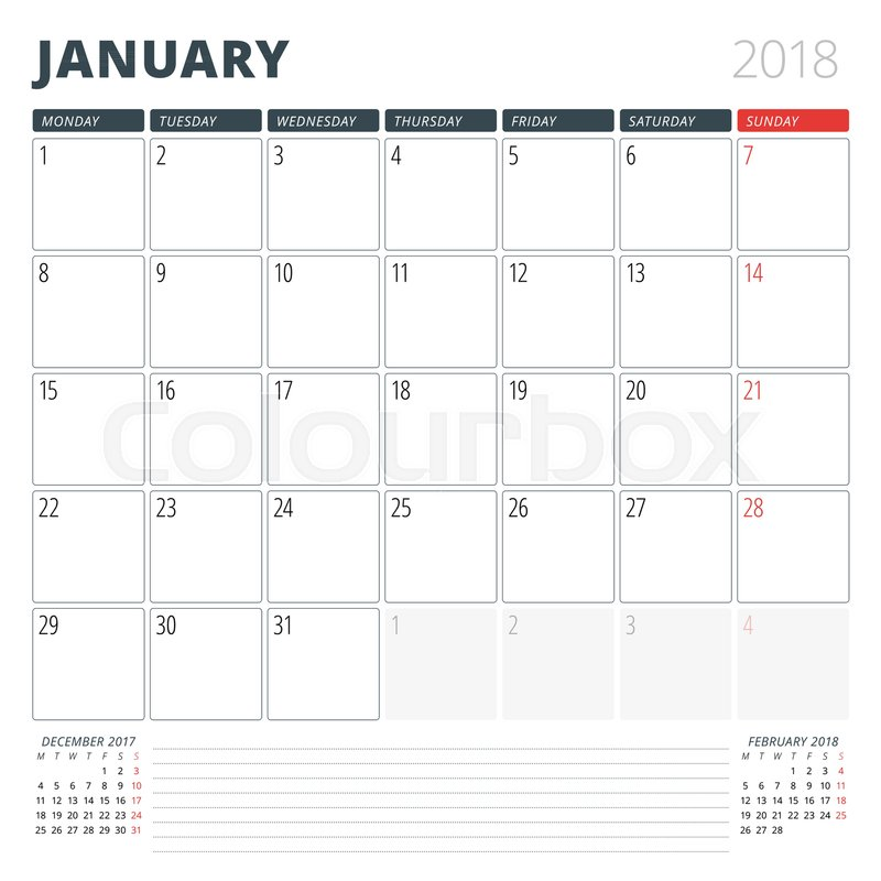 Calendar Planner For January 2018 Design Template Week Starts On