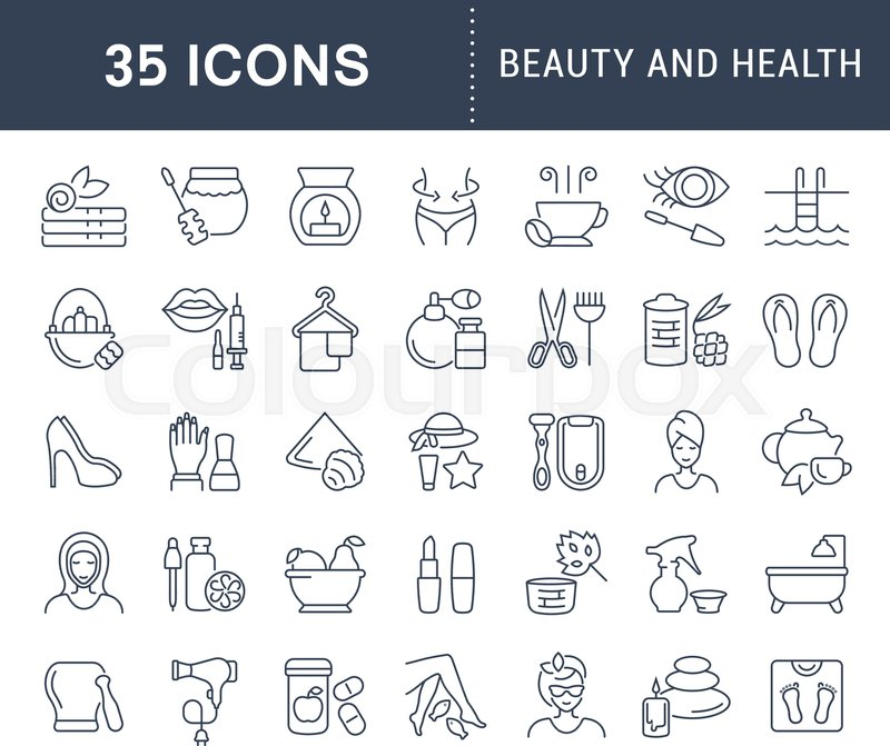 Set Of Vector Line Icons Sign And Symbols Of Beauty And Health For