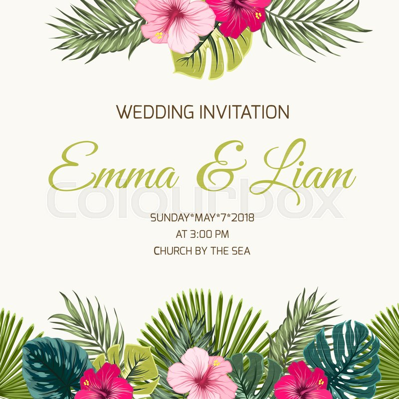 Floral Wedding Card Manufacturer From Hosur: Wedding Invitation Card Design Template. Exotic Tropical