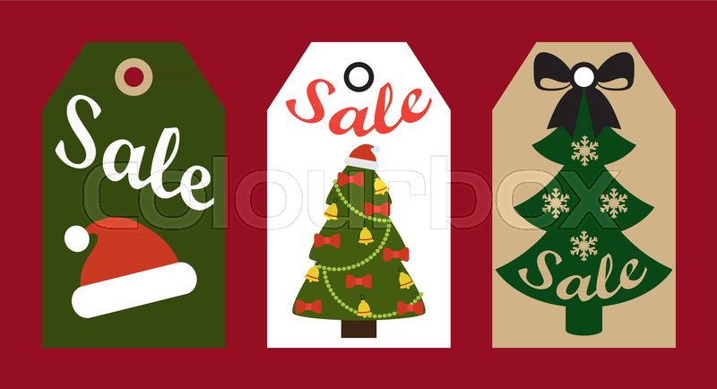 sale promo tags ready to use labels decorated christmas trees and red santa hat promotional advert stickers vector illustrations promo badges stock vector - Decorative Christmas Labels