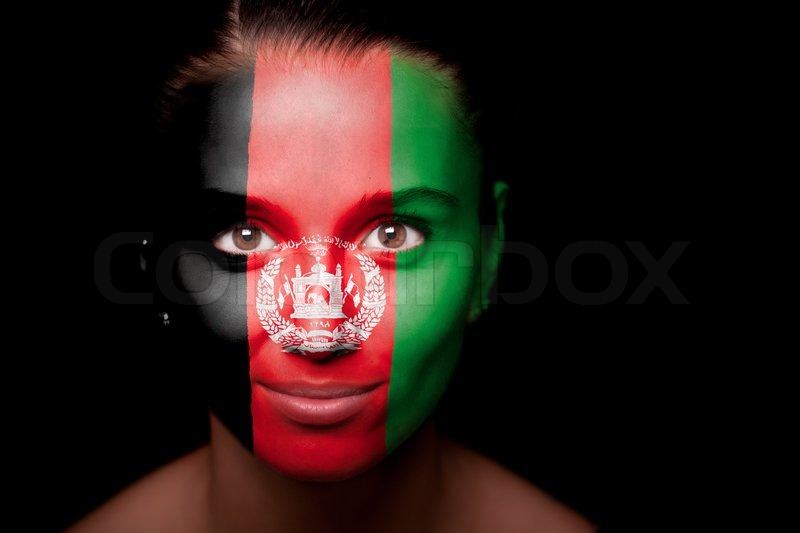 Portrait Of A Woman With The Flag Stock Photo