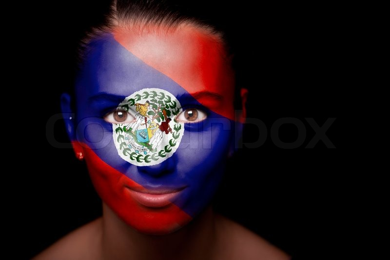 portrait of a woman with the flag of the belize painted on her face