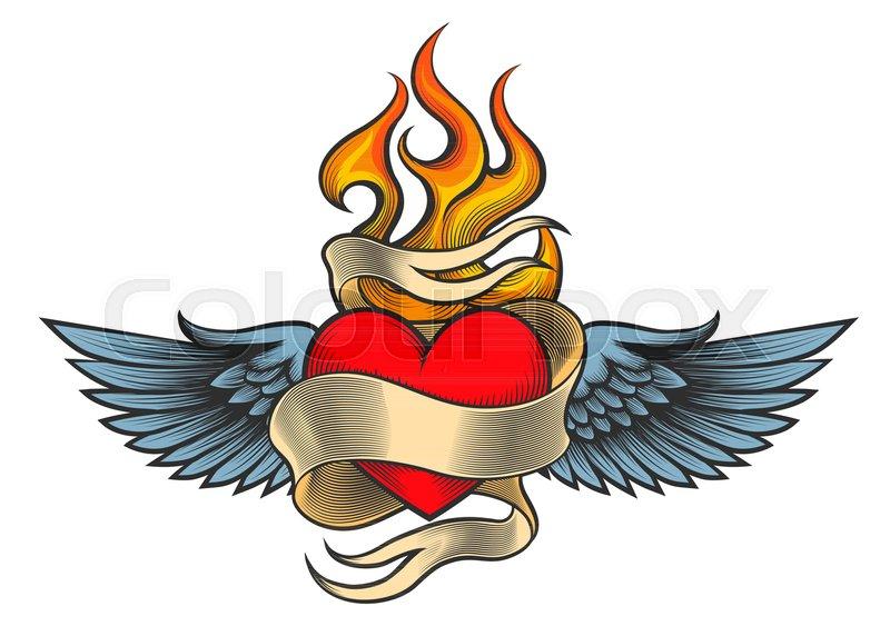 Flaming heart tattoo