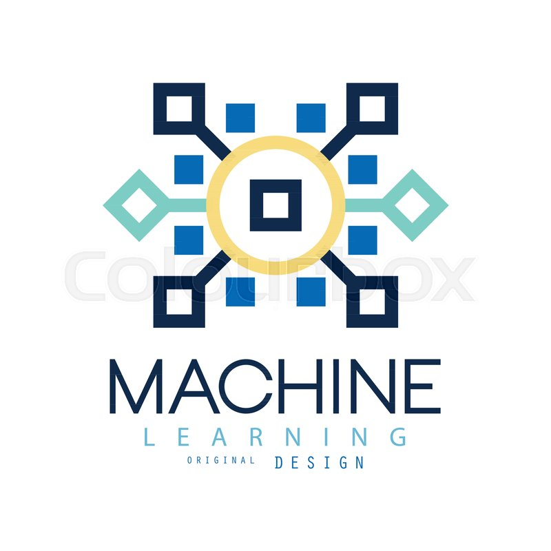 Colored geometric logo of machine learning artificial intelligence colored geometric logo of machine learning artificial intelligence icon computer science design for website business card or company label reheart Image collections