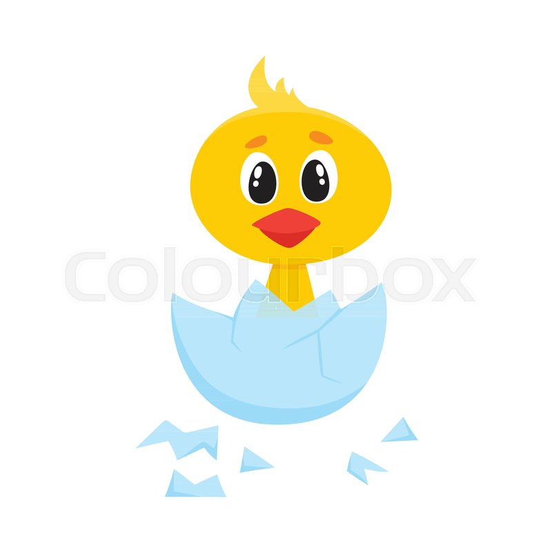Vector cartoon cute baby chicken character. Yellow small funny chick ...