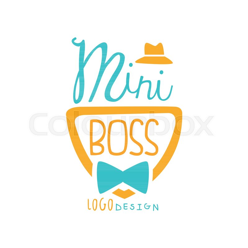 Cute Mini Boss Logo Design With Lettering Hat And Bow Tie