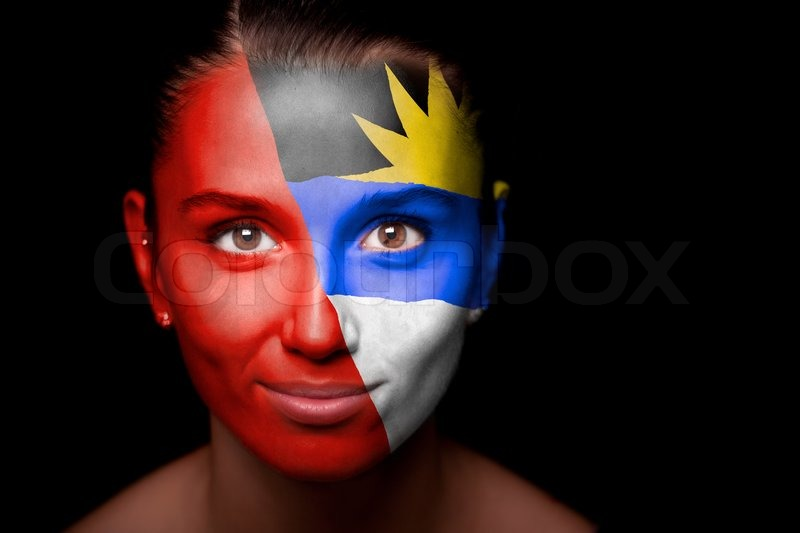 Portrait of a woman with the flag of the Antigua and Barbuda