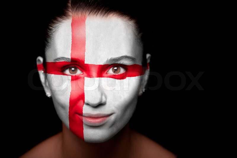 Portrait of a woman with the flag of the England painted on her