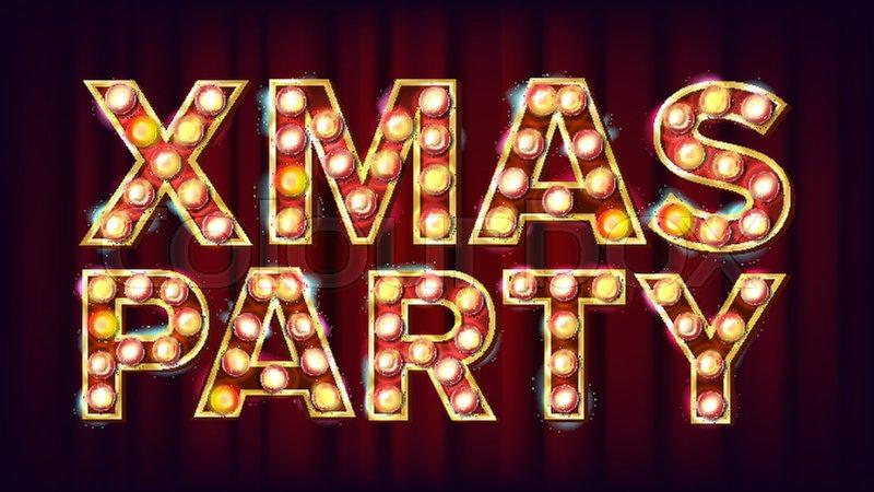 Christmas Retro Party Sign Vector Stock Vector Colourbox