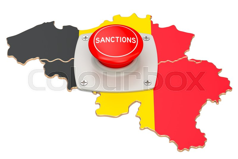 Stock image of 'Sanctions button on map of Belgium, 3D rendering isolated on white background'