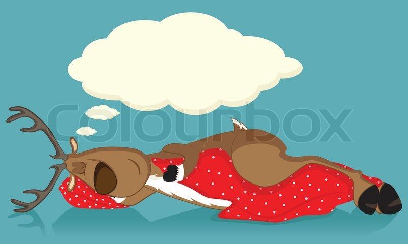 Sleeping Reindeer Covered With Red Blanket Stock Vector