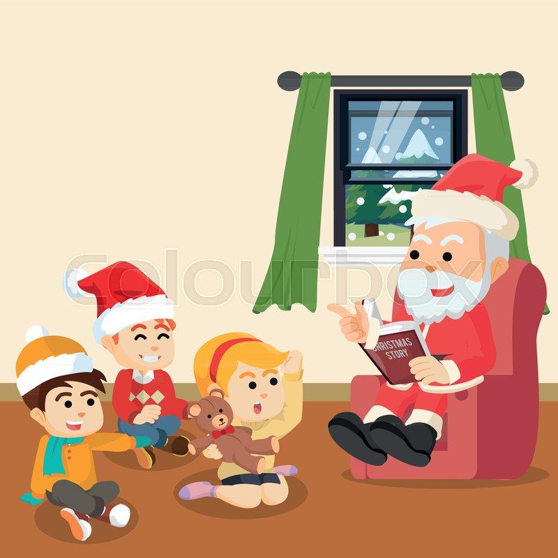 A Christmas Story Logo Vector.Santa Telling Christmas Story For Kids Stock Vector