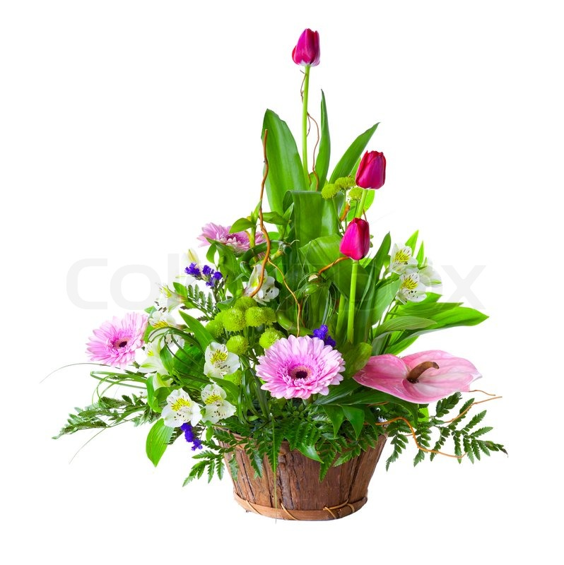 Bright flower bouquet in basket isolated over white background ...