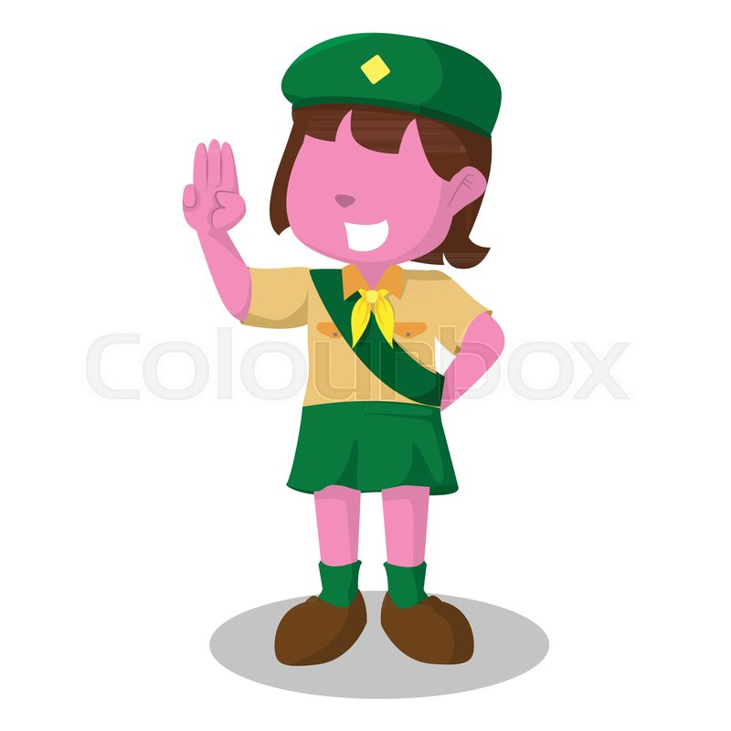 Pink Girl Scout Salute Stock Vector Colourbox