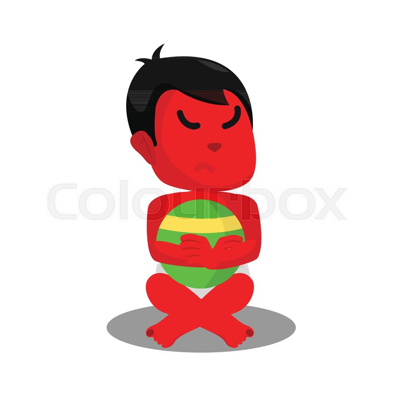 Red baby boy with angry face   Stock vector   Colourbox