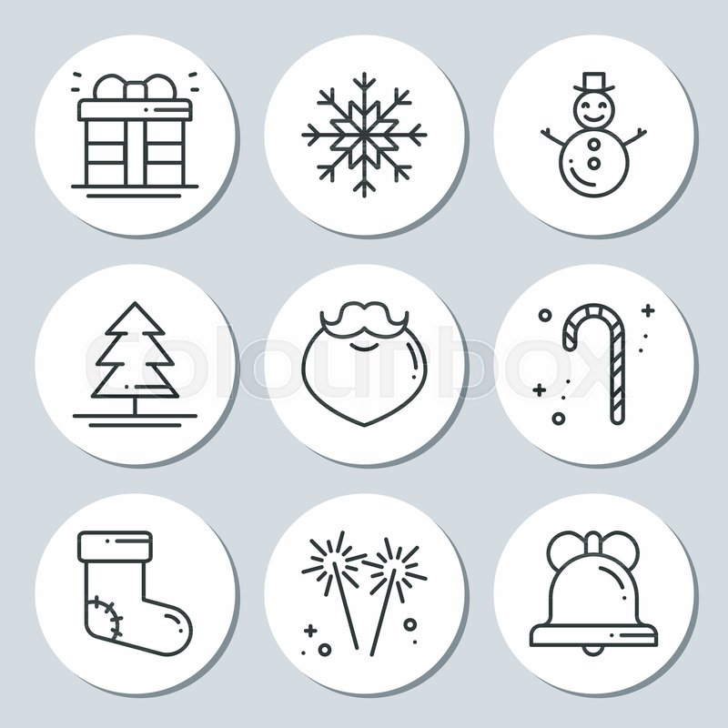 christmas new year icons gift round stickers labels xmas set hand drawn decorative element collection of holiday christmas stickers in black white