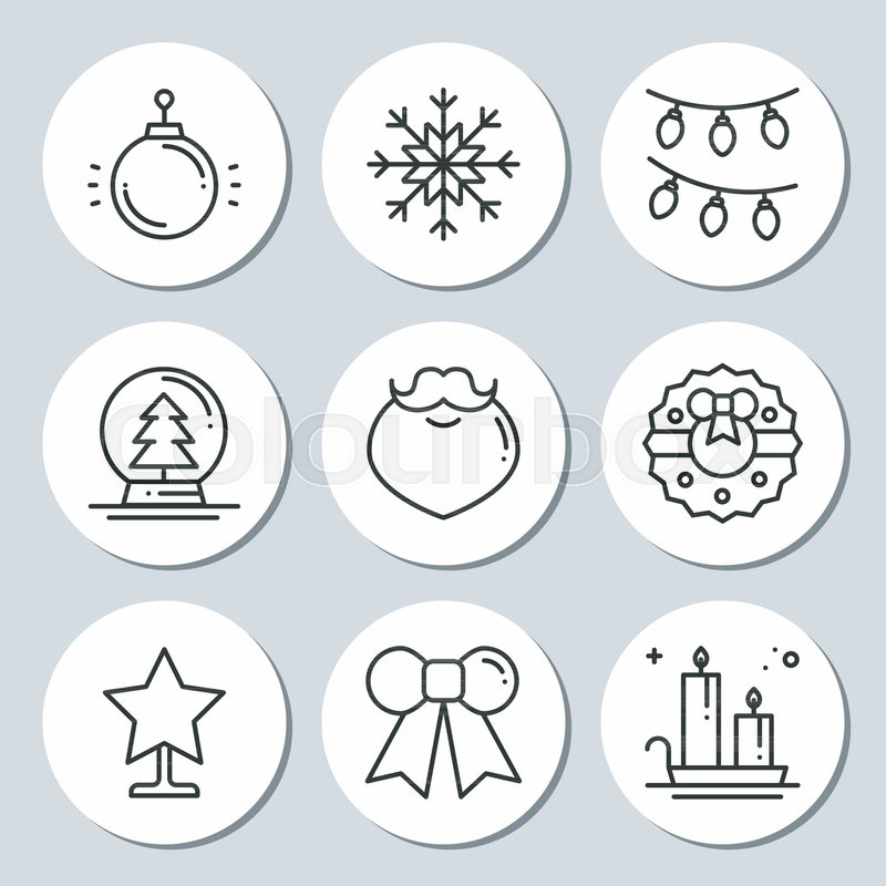 Christmas New Year icons gift round stickers. Labels xmas set. Hand drawn decorative element. Collection of holiday christmas stickers in black white. Vector illustration. Basic xmas winter elements, vector