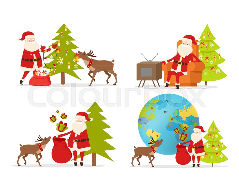 santa claus and big reindeer on white background christmas decor and present big reindeer decorate fir tree send presents for children around the world