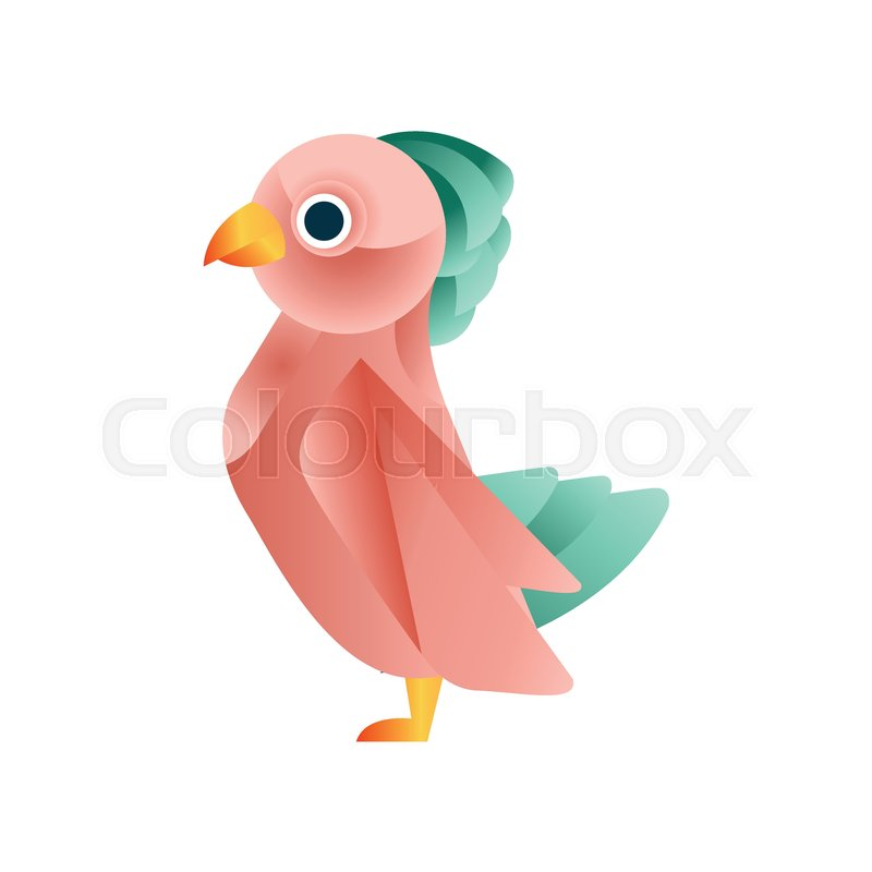 Colorful tropical bird, stylized geometric animal low poly design vector Illustration on a white background, vector