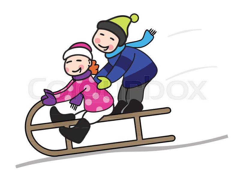 Zwei Kinder rodeln auf einem Schlitten ... | Vektorgrafik ...