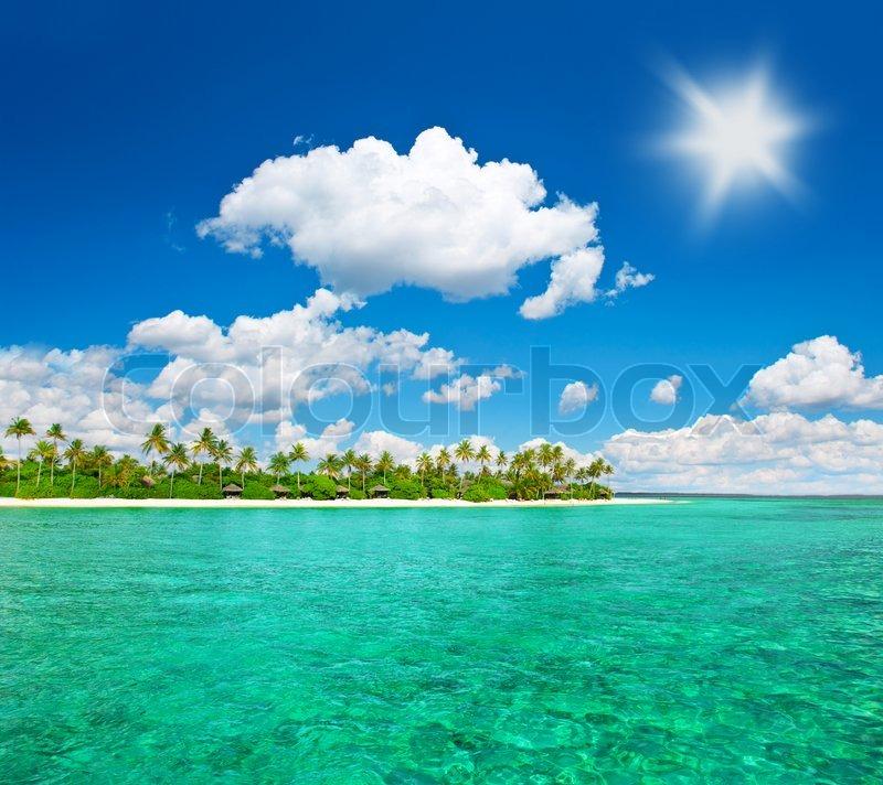Tropical Island Beaches: Tropical Island Beach With Cloudy Blue Sky Island Of