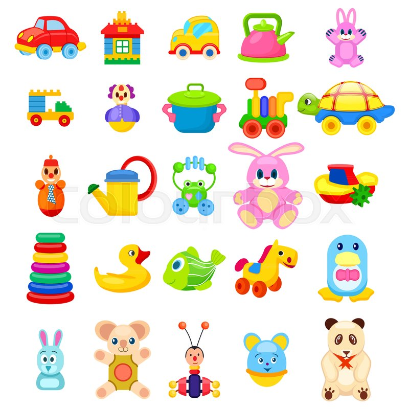 Soft animals, easy constructors, toys on wheels, rubber duck and ...
