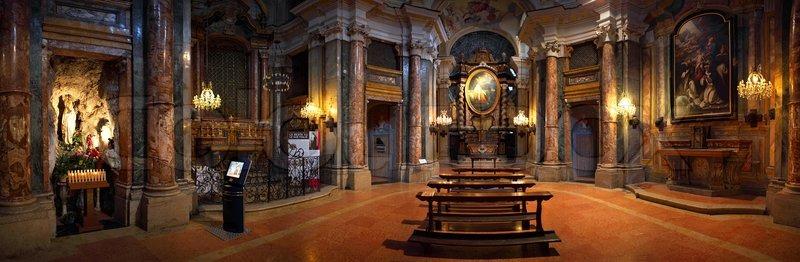 Panoramic View Of Santa Maria Maddalena Church Interior In