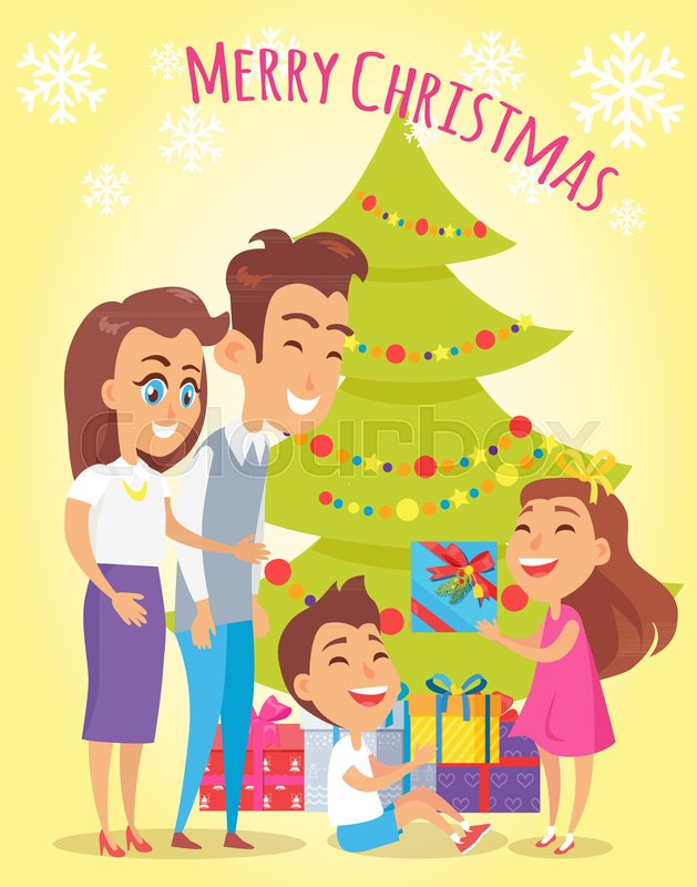 Merry Christmas family holiday poster with parents giving gifts to ...