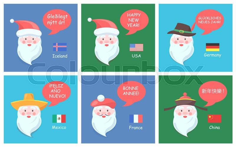 Santa Clauses from all over world in ethnic headdresses greet with ...