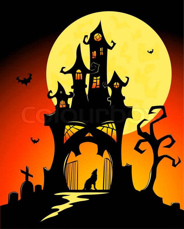 Black Halloween Castle And Moon Vector Cartoon