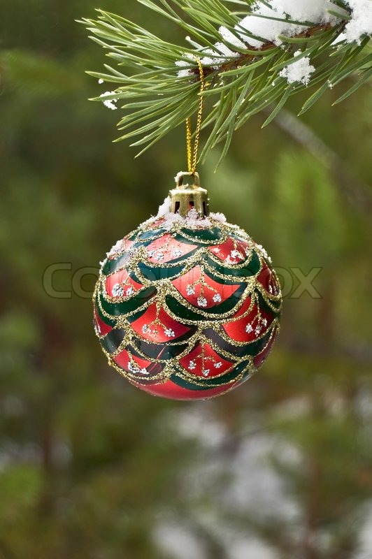 Red with green silver and gold ornaments christmas ball for Green and gold christmas tree