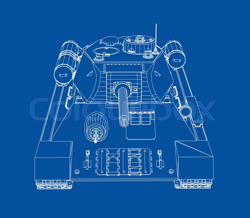 Blueprint of realistic tank vector eps10 format rendering of 3d blueprint of realistic tank vector eps10 format rendering of 3d stock vector colourbox malvernweather Choice Image