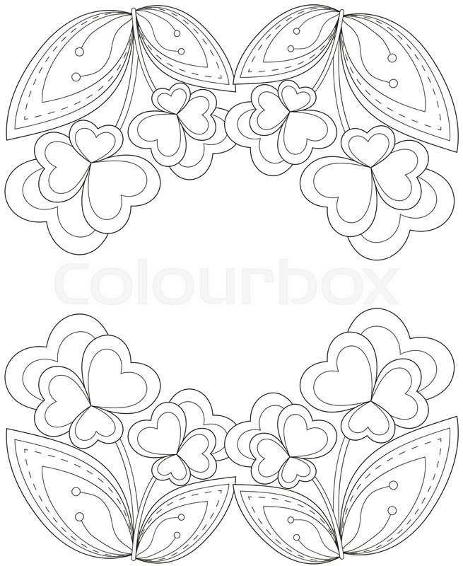 Black and white heart flower plant border. Coloring book page for ...