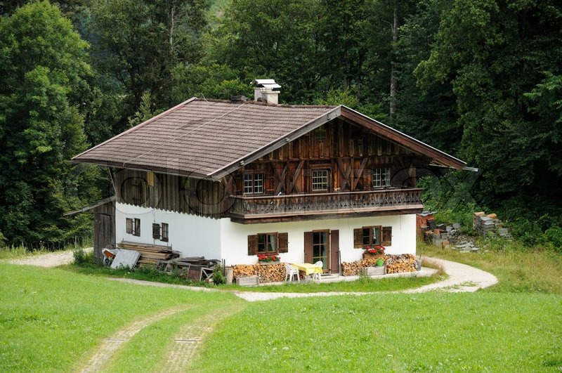 Wooden house in the german alps stock photo colourbox for German house builders